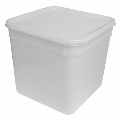 10 Litre Square Ice Cream tubs / Food storage containers with lids 235x235x230mm