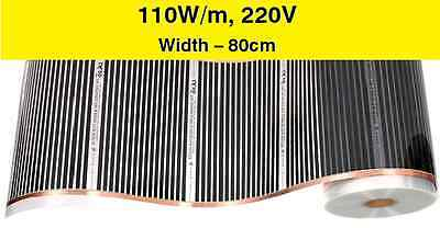 Electric infrared floor heating film for tiles, laminate - 0,5m, 110W/m, 220V