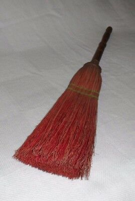 """Vintage Hearth Broom Turned Handle Red Dyed Fibers wire wrapped 27"""""""