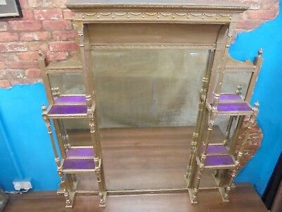 large antique mirror,victorian wooden ornate gold gesso over mantle.