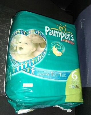 vintage  pampers baby dry  6 extra large 16+kg 35+lb 22 diapers  unicef