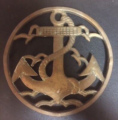Vintage Brass Nautical Anchor Hot Plate