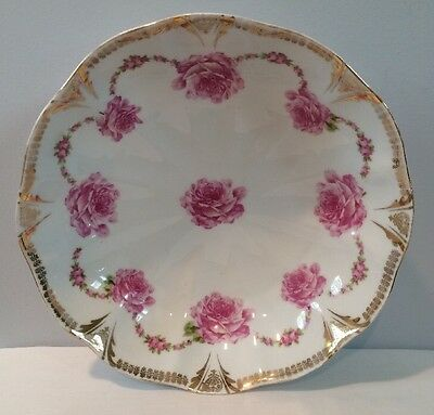 """Antique 10-1/2"""" Round Porcelain Serving Bowl Bridesmaid Roses Made In Prussia"""