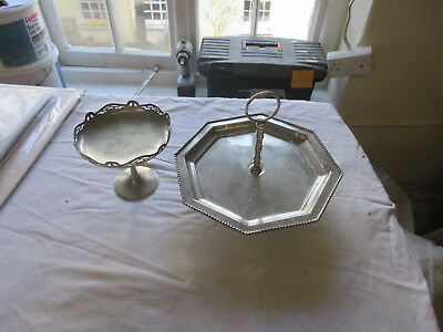 Silver plated cake stand and Bonbon dish both in very good order vintage / old