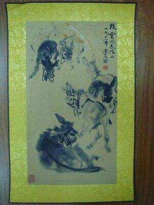 """Rare Fine Chinese Paper Painting Donkeys """"HuangZhou"""" Marks"""