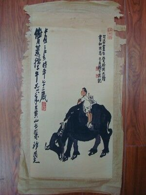 "Old Chinese Paper Painting Cattle and Kid Marked ""LiKeRan"""