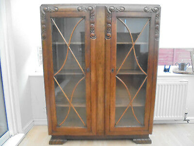 Antique English Oak/Art Noveau wooden and glass display cabinet