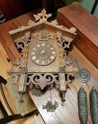 Antique black forest railroad cuckoo clock