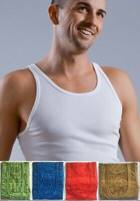 MEN RIBBED Fitted Slim Fit Athletic Muscle Gym Rib Tank Top Mens Vest Cotton LOT