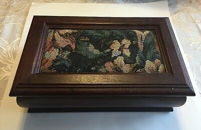 Vintage Wooden Jewelry Box With Embroidery Top. Lift Out Compartment And Mirror