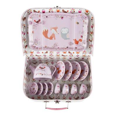 Childrens Kids 14 Piece Tin Tea Set Picnic Case Girls Toy Pink Wildlife