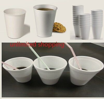 200 X Disposable Foam Cups Polystyrene Coffee Tea Cups for Hot & soft Drinks