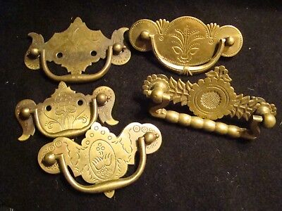 lot  of 5 Antique vintage Ornate Brass drawer pull Hardware
