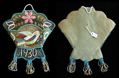 Iroquois Mohawk Indian Beaded Whisk-Broom Holder with Bird from Museum Exhibit