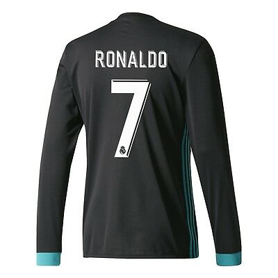 Adult S LS Real Madrid Away Shirt 2017-18 with Ronaldo 7 RM19