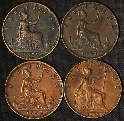 1875, 1881, 1882 and 1900 One Farthing Victoria UK - Free Shipping USA