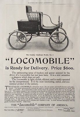 1899 Ad (1800-25)~The Stanley Stanhope Model No.1 Steam Powered Locomobile