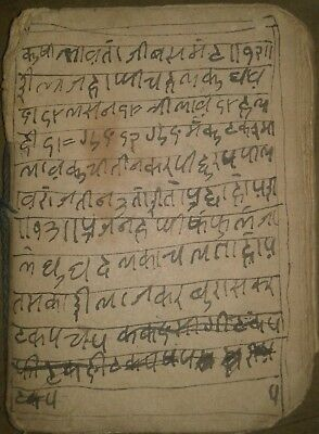 India Very Old Interesting Small Sanskrit Manuscript, 20 Leaves-40 Pages.