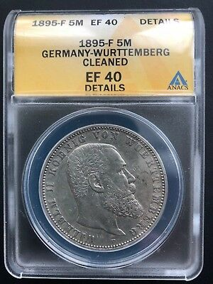 1895-F Germany-Wurttemberg 5 Mark ANACS EF 40 Details German Empire Silver Coin