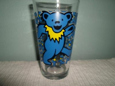 """Grateful Dead Drinking Glass Dancing Blue Bear   6""""H Never Used   New"""