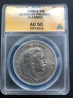 1900-A Germany-Prussia 5 Mark ANACS AU 50 Details German Empire Silver Coin