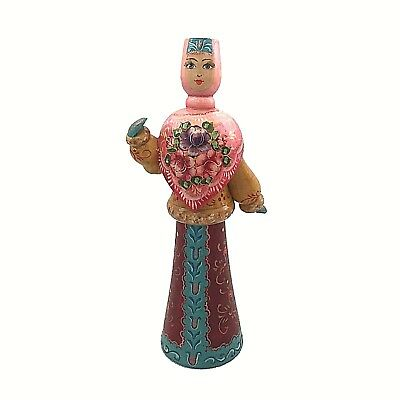 Dancing Russian Doll, handmade hand painted toy, traditional collectible art