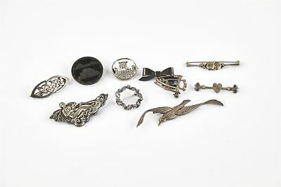 Lot of HALLMARKED STERLING SILVER/ STAMPED Brooches inc Boat, Ornate 53g