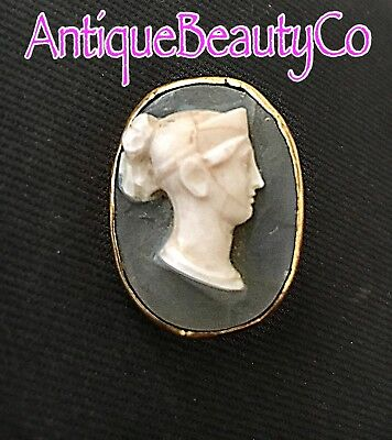 Antique Victorian Roman God lava Carved Cameo Gold Plated Brooch