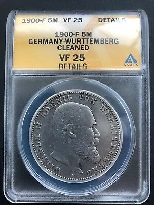 1900-F Germany-Wurttemberg 5 Mark ANACS VF 25 Details German Empire Silver Coin
