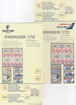 EGYPT AIR     TWO  DIFFERENT     Embraer 170    Safety Cards