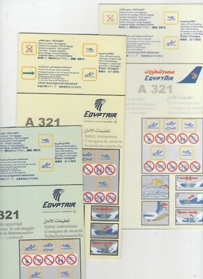 EGYPT AIR     THREE DIFFERENT     Airbus  A 321    Safety Cards