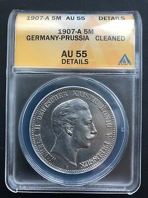 1907-A Germany-Prussia 5 Mark ANACS AU 55 Details German Empire Silver Coin