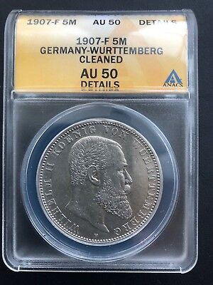 1907-F Germany-Wurttemberg 5 Mark ANACS AU 50 Details German Empire Silver Coin