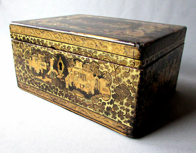 ANTIQUE 19th Century CHINESE Hand Painted Lacquer TEA CADDY with PEWTER INSERTS