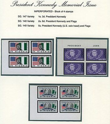 Nigeria 1964 Mnh Set ***imperf Proof*** President Kennedy Memorial Issue