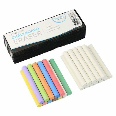 Chalkboard Eraser + White and Colored Dustless Chalk NON Toxic - 2 X 12 ct boxes