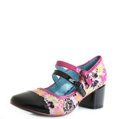 Poetic Licence By Irregular Choice Mini Mod Pink Black Low Heel Shoes Shu Size