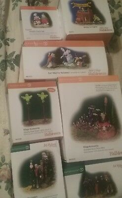 Lot of 7 Boxes DEPT 56  Snow Village  HALLOWEEN and Accessories New in Box