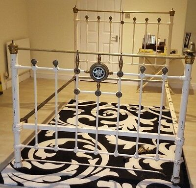 Old Used Antique Iron Brass Double Bed Frame For Renovation Woodford Bridge Ig8