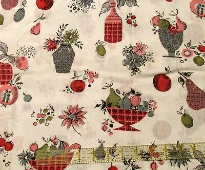 Vtg 60s kitchen cotton fabric PINK GREY retro MOD lighweight BTHY half yard