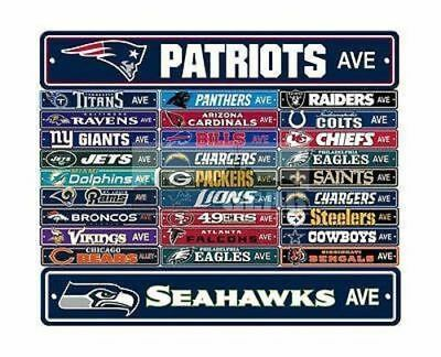 """New NFL Football Team Official Logo Street Sign 4"""" X 24"""" - Most Teams Available"""