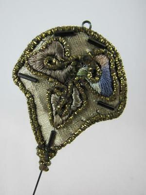 Ornate RARE Antique French Passementerie Large Hat Pin Hatpin Beaded Silk