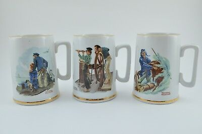 Norman Rockwell Set of 3 Mugs Cups 1985 Sea Theme Collector Coffee Tea Vintage
