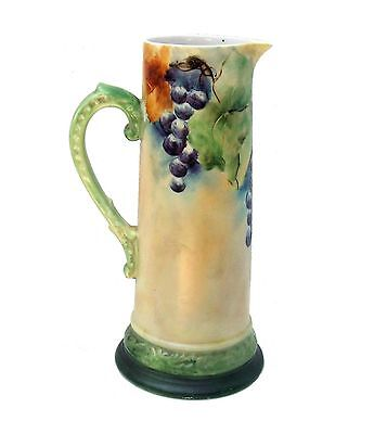 Antique R. Delinieres & Co D&C Limoges Large Hand Painted Grapes Tankard 9""