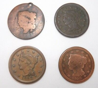 LOT of 4: US Large Cent Penny Coins 1817-1856 (T1007)
