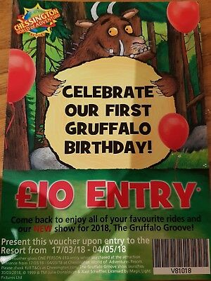 chessington ticket £10 entry