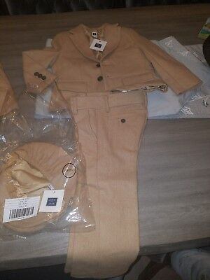NWT Janie & Jack size 3 Holiday Traditions Camel Wool Suit with hat