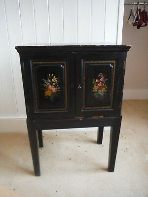 Chinese black lacquer small cabinet, very old and well worn.