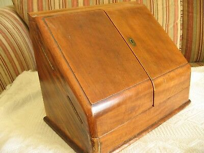 Small Victorian walnut writing stationery box, slope with folding doors 12 inch