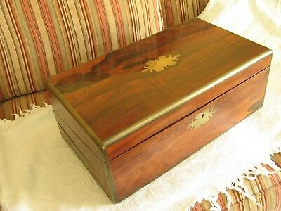 LARGE ANTIQUE c.1830 Rosewood BRASS BOUND CAMPAIGN STYLE WRITING SLOPE BOX
